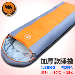 1.8kgs Adult outdoor camping sleeping bag envelope pattern with cap thick filling cotton light easy carry keep warm sleeping bag