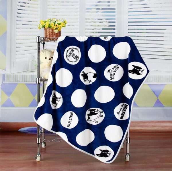 100x75cm Soft Fleece Bulldog Blankets Pet Cat Blanket  Cats Dogs Bed Blanket for Sofa, Dog bed Cover