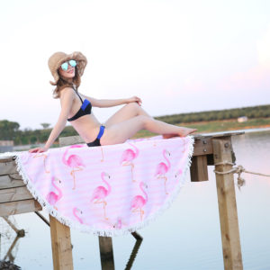 150CM Round Microfiber fashion Flamingo printed Beach towel Tassels large yoga outdoor picnic Circle beach bath towel blanket