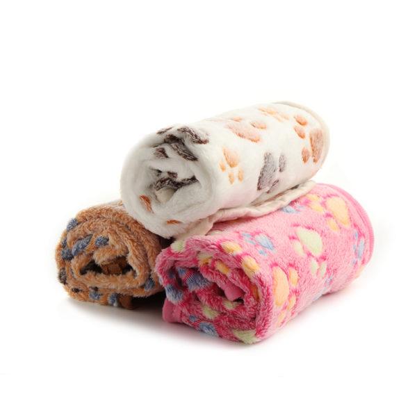1PC Hot Warm Size XS-L Pet Mat Small Large Paw Print Cat Dog Puppy Fleece Soft Blanket Cushion Pet Accessories