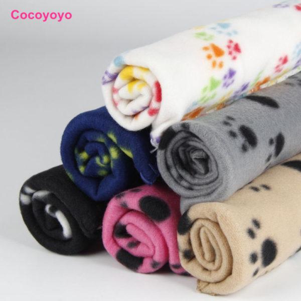 1X Warm Pet Large Paw Print Pet Cat Puppy Fleece Soft Blanket Bed Mat EC061