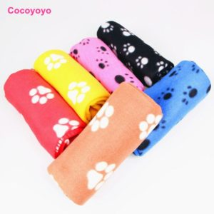 1X Warm Pet Large Paw Print Pet Cat Puppy Fleece Soft Blanket Bed Mat EC061