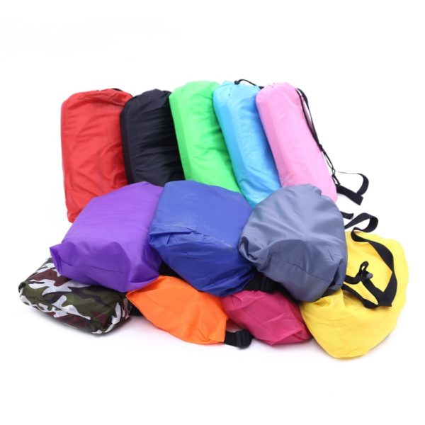 240*70cm Fast Inflatable Lazy bag Air Sleeping Bag Camping Portable Air Sofa Beach Bed Air Hammock Nylon Banana Sofa Lounger
