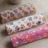 3 Color Cute Floral Pet Sleep Warm Paw Print Dog Cat Puppy Fleece Soft Dog Blanket Pet Dog Beds Mat 40 X 60cm 2