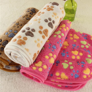 40x60cm Cute Paw Pet Sleep Warm Dog Cat Mat Puppy Soft Coral Fleece Blanket Beds Pet Mats Sofas
