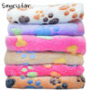 6 Colors Coral Fleece Warm Pet Sleeping Cushion Cover For Pet Dog Cat Puppy Bed Mat Cute Paw Printed Breathable Blanket Pet Dog