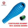 AEGISMAX  G Sleeping Bag  95% White Goose Down Mummy Camping  Cold Winter Ultralight Baffle Design Camping Splicing  Lengthened