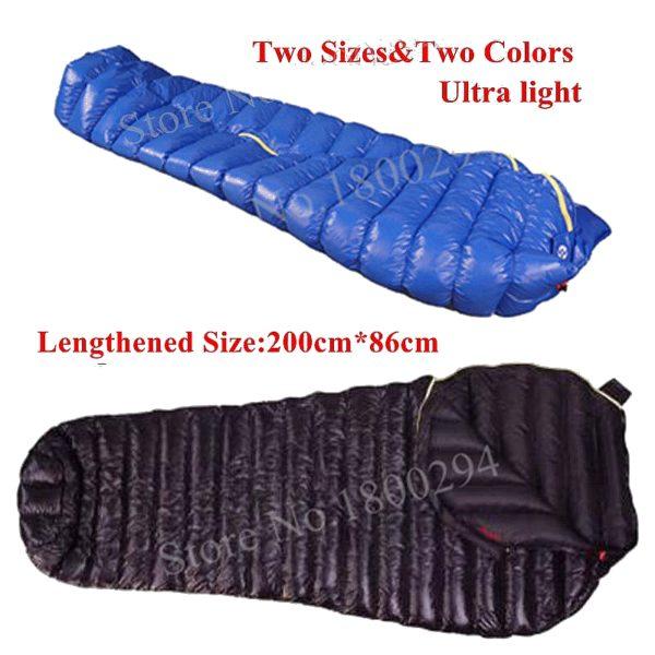 Aegismax M2 Lengthened Blue Wing Mummy Sleeping Bag Ultralight White Goose Down Outdoor Camping Hiking Saco de dormir 200cm*86cm
