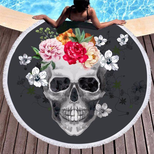 Bedding Bohemian Skull Flower Round Outdoor Beach Towel Boho Indian Tassel Tapestry Floral Yoga Mat Flower Toalla Blanket 150cm