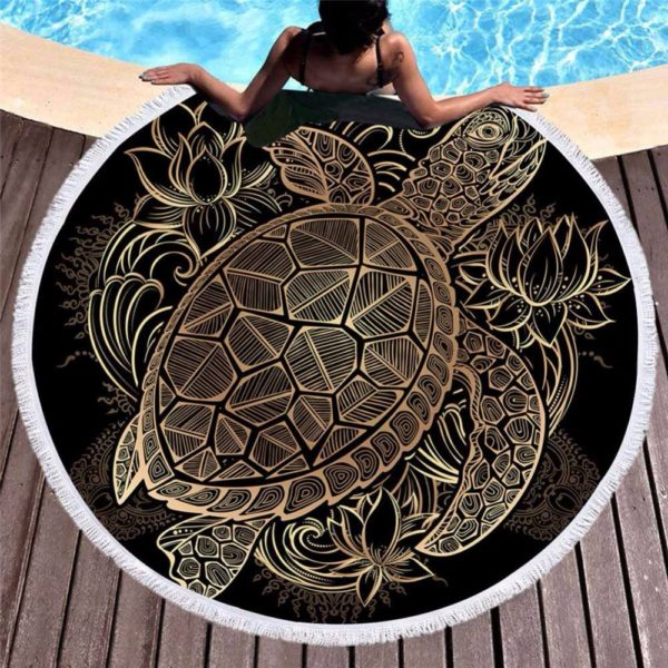 Bedding a Blanket Bohemian Tortoise Round Carpets Outdoor Solarium Beach Towel Boho Indian Tassel Tapestry Textile Beach Mat