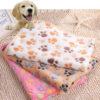 Comfortable Pet Bed Mats Sleep Flora Paw Print Dog Cat Puppy Fleece Soft Blanket Pet Dog Beds Mat For Pet Cat Small Dog Supplies 2