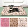 Comfortable Pet Bed Mats Sleep Flora Paw Print Dog Cat Puppy Fleece Soft Blanket Pet Dog Beds Mat For Pet Cat Small Dog Supplies 3