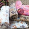 Comfortable Pet Bed Mats Sleep Flora Paw Print Dog Cat Puppy Fleece Soft Blanket Pet Dog Beds Mat For Pet Cat Small Dog Supplies 4