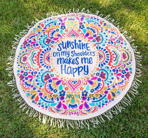 DHL 10pcs 2017 Cover-ups Sunshine Happy Round Beach Towel Blanket Beachwear Dress Yoa Mat Indian Printed Bohemian Mandala Gifts