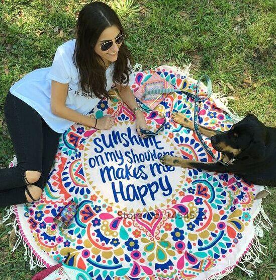 DHL 10pcs 2017 Cover-ups Sunshine Happy Round Beach Towel Blanket Beachwear Dress Yoa Mat Indian Printed Bohemian Mandala Gifts