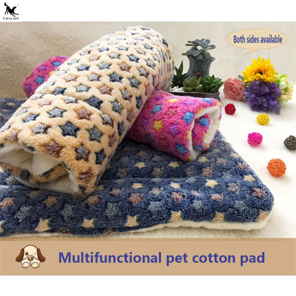 Dog blanket pet plush mattress cat pad cushion warm quilt cotton towel