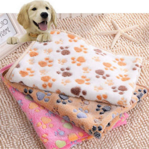 Fine joy Pets Bed Mats Soft Fleece Warm Blanket Pets Cat Dog Sleeping Mats Paw Printing Puppy Teddy Beds Mats