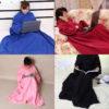 Home Winter Warm Fleece Mermaid Blanket Kids Throw Bed Wrap Super Soft Sleeping Bed Blanket Robe Cloak With Sleeves 4 Colors 2