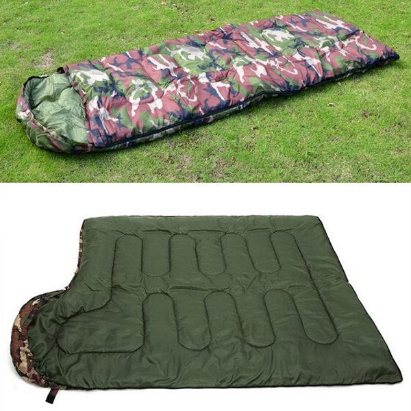 JHO-Cotton Camping sleeping bag 15~5degree envelope style camouflage Multifuntional Outdoor SleepingBag Travel Keep Warm LazyBag