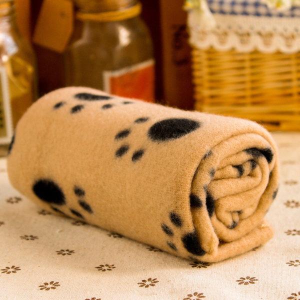 Large 60cmx70cm Pet Dog Cat Soft Warm Paw Print Blanket Pet Cat Puppy Fleece Blanket Pet Cartoon Quilt Mat 1pcs