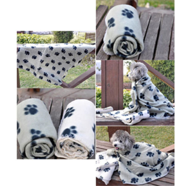 Lovely Pets Mat Design Paw Print Soft Warm Fleece Pet Blanket Dog Cat Mat Puppy Bed Sofa