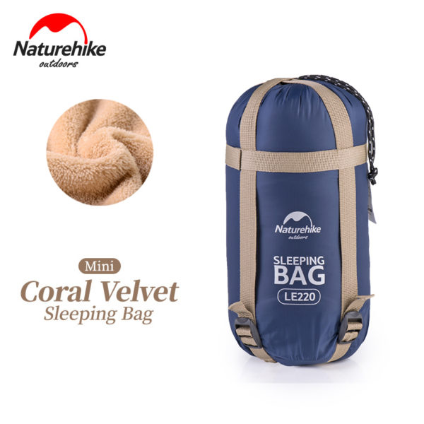 NatureHike 190*75cm Coral Velvet Envelope Sleeping Bag Ultralight For Hiking Camping Traveling NH17S015-S