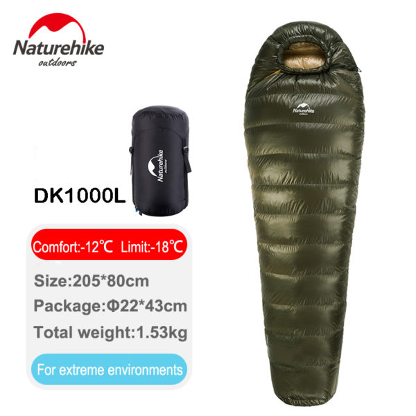 Naturehike New Outdoor Duck Down Sleeping Bag Mummy Sleeping Bag Winter Sleeping Bag NH15D800-K