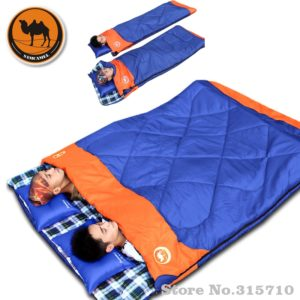 Outdoor Double Sleeping Bag Envelope Spring and Autumn Camping Hiking Portable Sleeping Bag filling cottom for couple