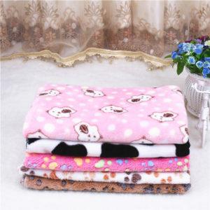 Pet Cat Dog Blanket Mat Cover Super Soft Warm Coral fleece blanket Dog Paw Print