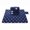 Sew Crane Multi-functional Picnic Blanket Outdoor Camping Rug Beach Mat Travel Play Mat, Navy Blue with White Stars 2