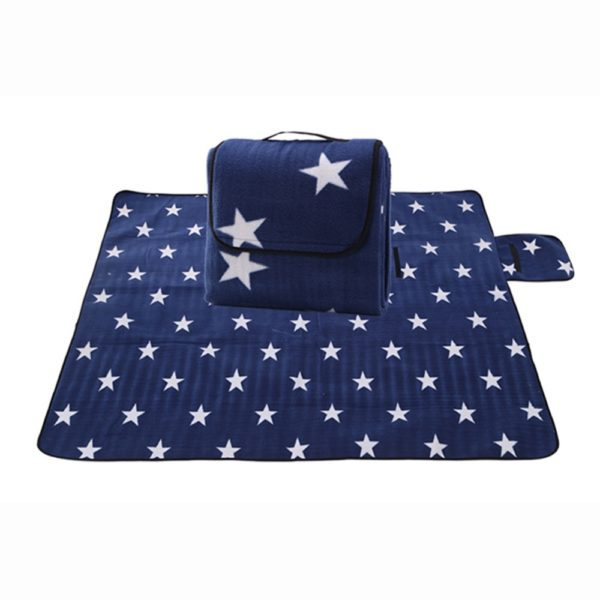 Sew Crane Multi-functional Picnic Blanket Outdoor Camping Rug Beach Mat Travel Play Mat, Navy Blue with White Stars