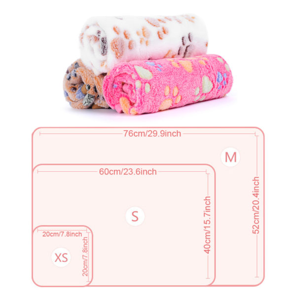 Soft Dog Blankets Multiunction Winter Warm Paw Print Pet Sleep Puppy Fleece Cat Blanket Bed Mats 3 Colors