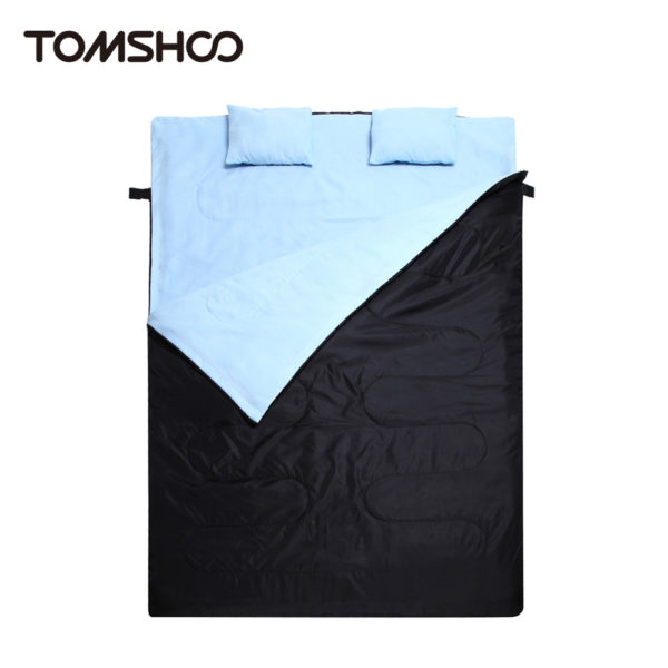 "TOMSHOO 86""x60"" Double Sleeping Bag Outdoor Camping Hiking Double Sleeping Bag with 2 Pillows Autumn Winter Sleeping Bag"