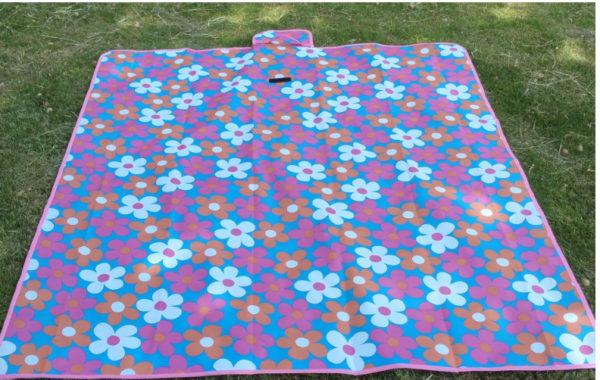 Waterproof Carpet Blanket Outdoor Beach Camping Picnic Mat 150x80cm, Purple-Flower