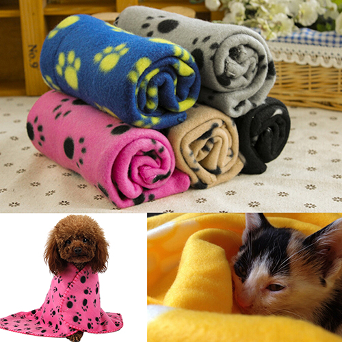 Wholesale Pet Cat Kitten Dog Puppy Winter Blanket Warm Beds Mat Cover Soft Fleece Paw Print 7KIO